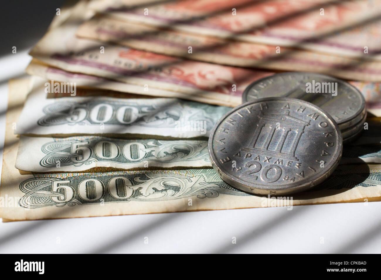Divisa dracma dracmas dracmas dinero en efectivo son la moneda de Grecia anterior Imagen De Stock