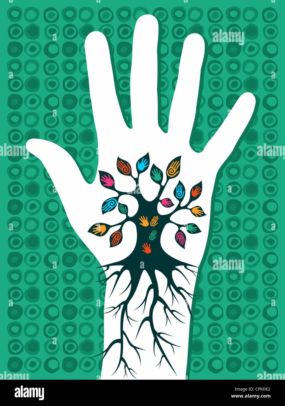 Vaya concepto verde árbol en mano con raíces como venas. Capas de archivo vectorial para una manipulación Imagen De Stock