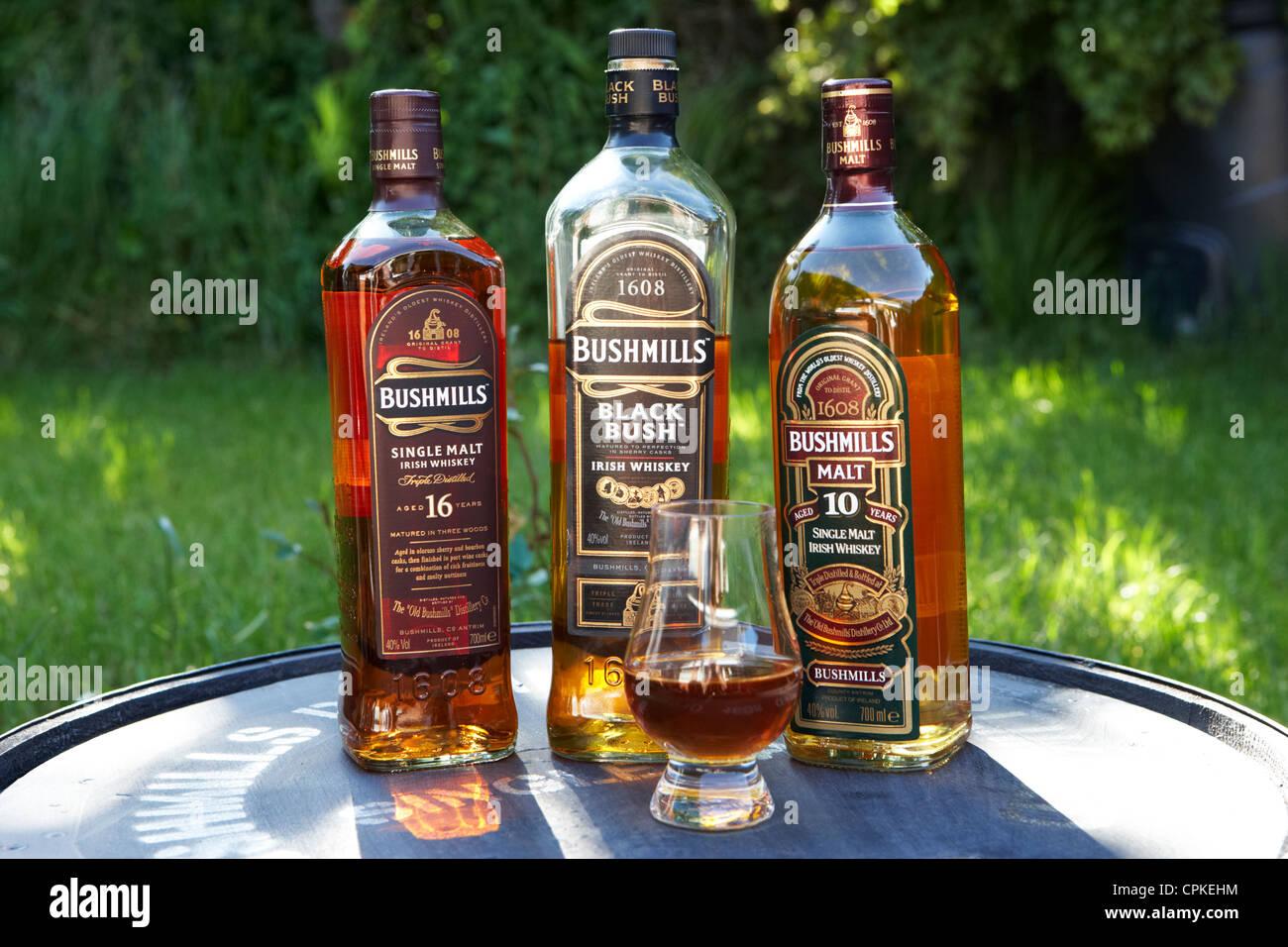Selección de Bushmills Malt Whiskey irlandés condado de Antrim de Irlanda del Norte Imagen De Stock