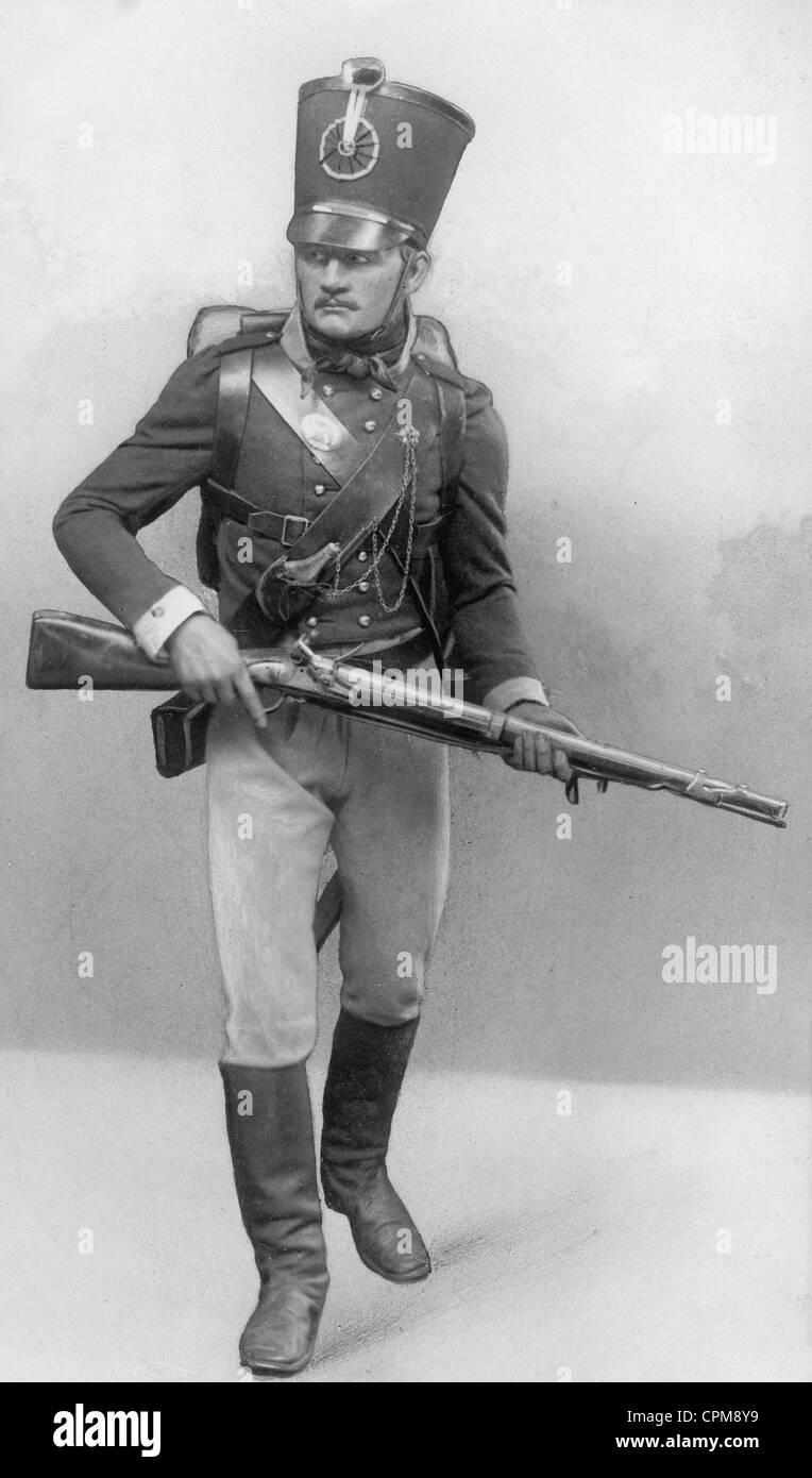 Soldado prusiano de la época de las guerras napoleónicas 1813 - 1815 Foto de stock