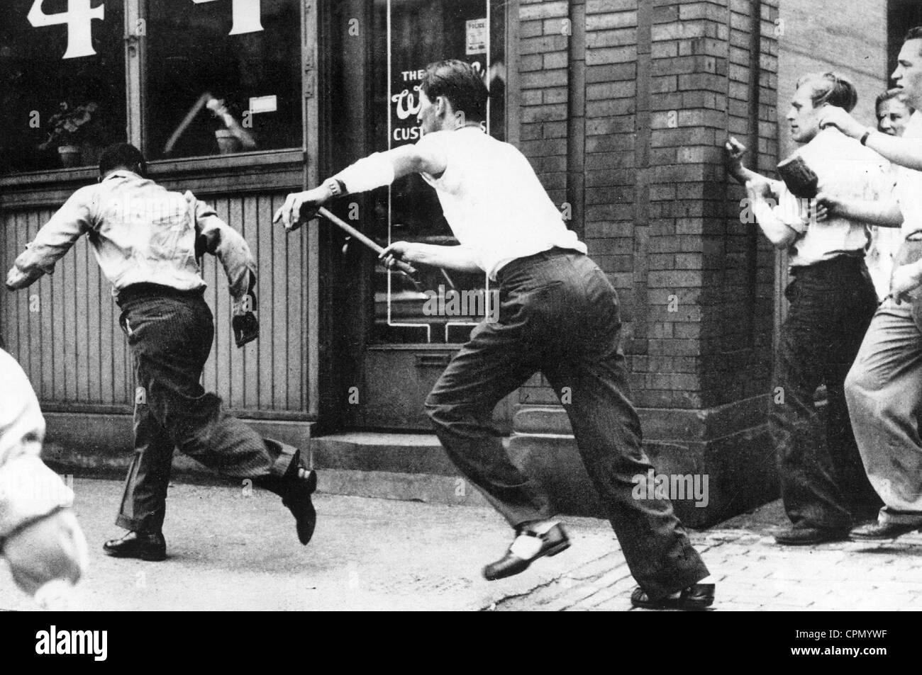 Los linchamientos en los EE.UU. sobre un hombre negro Foto de stock