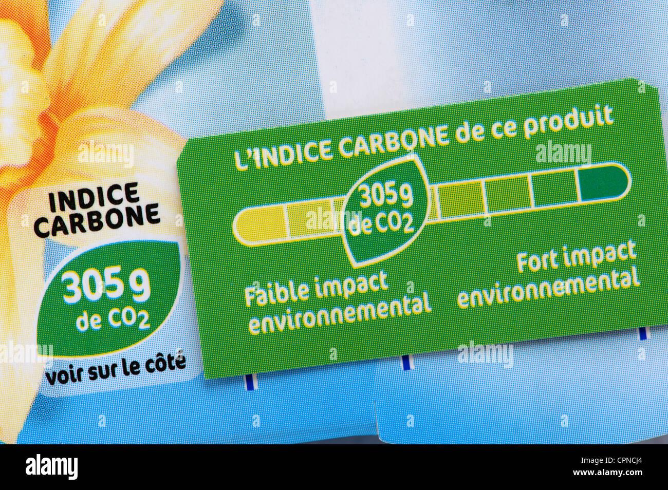 La huella de carbono de alimentos Imagen De Stock