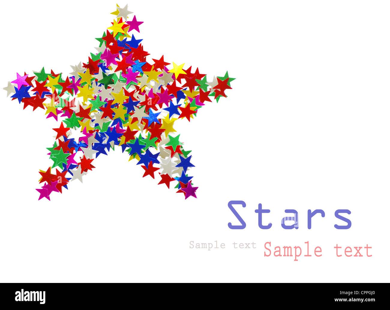 Big Star compuesto de muchas estrellas de color sobre blanco Foto de stock