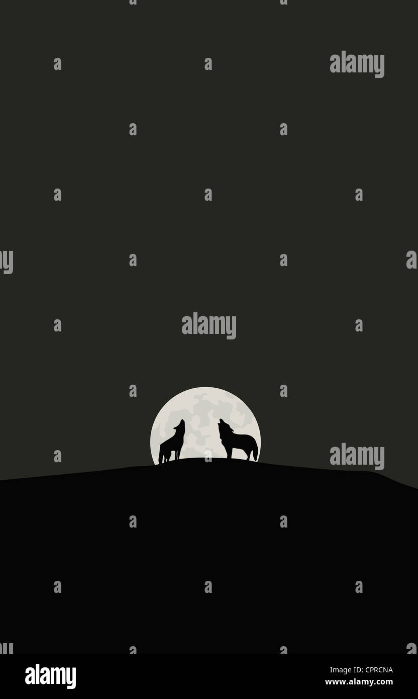 Las Siluetas De Dos Lobos Aullando A La Luna Foto Imagen De Stock
