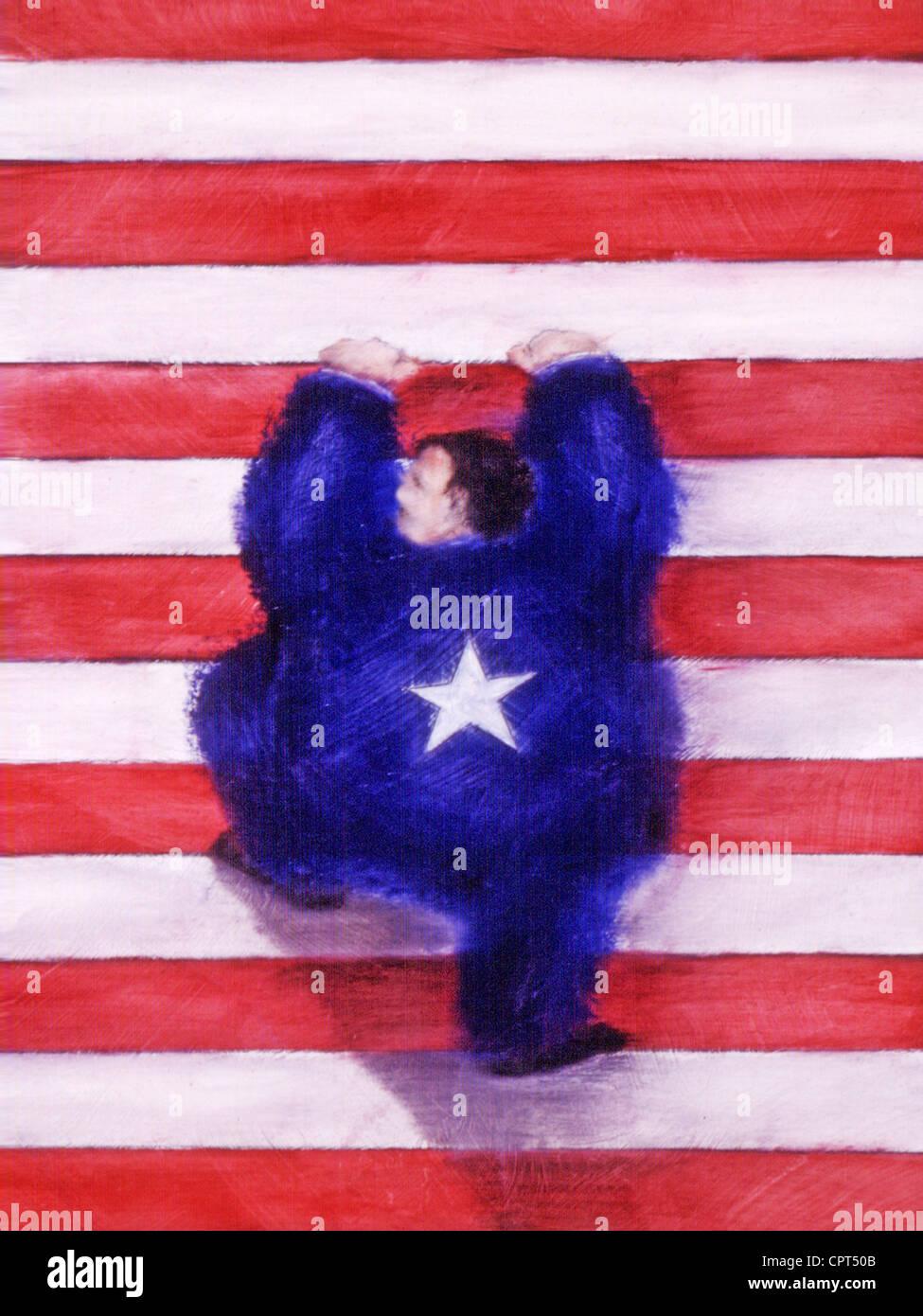 Un hombre vestido de azul con una estrella en la espalda, subiendo por franjas rojas y blancas Imagen De Stock