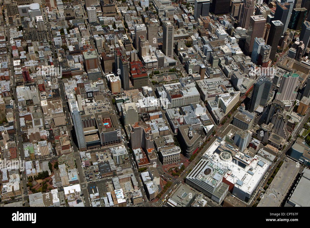 Fotografía aérea de Union Square en San Francisco, California Imagen De Stock