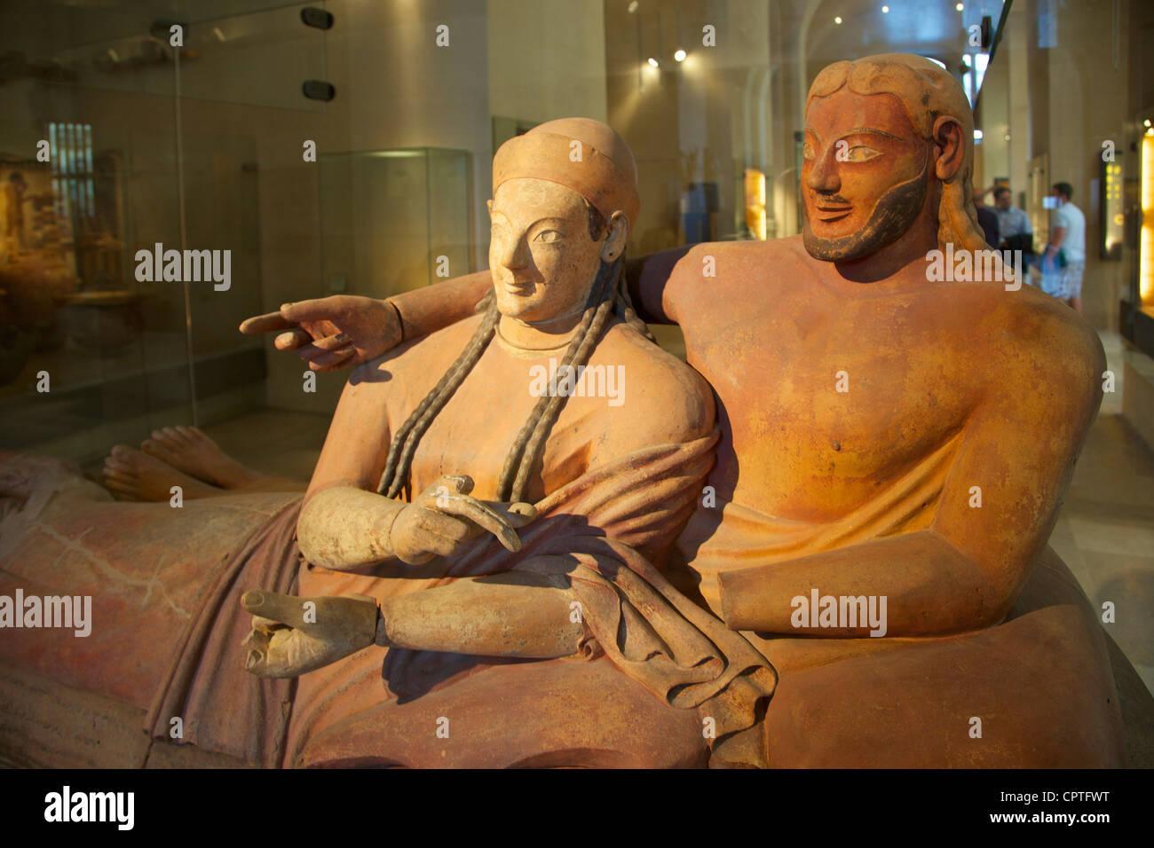 Sarcófago de los esposos, terracota etrusco, matrimonio, 6º siglo DC, Musée du Louvre, París, Francia, Europa Foto de stock