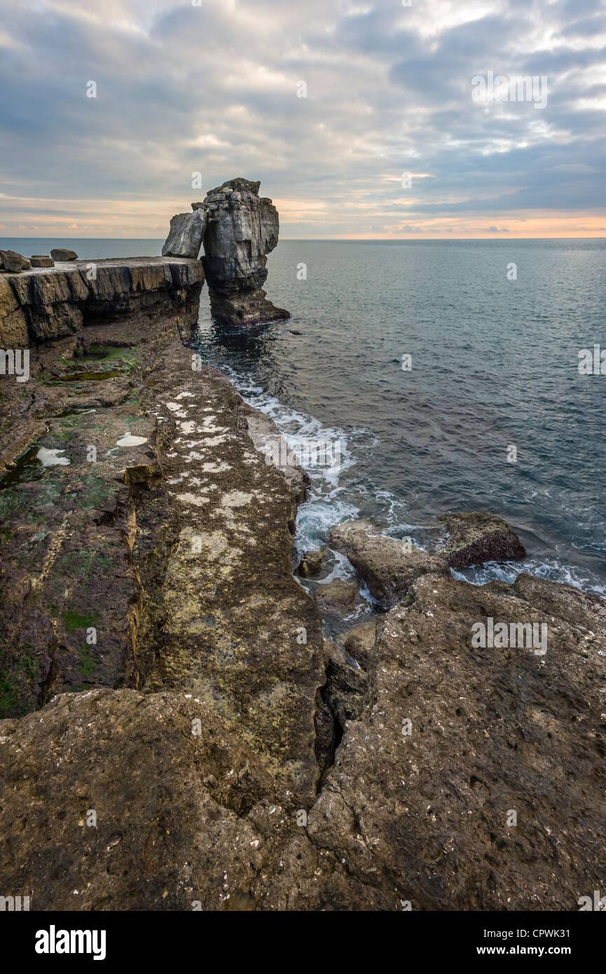 Al atardecer la roca púlpito Portland Portland Bill Dorset UK Foto de stock