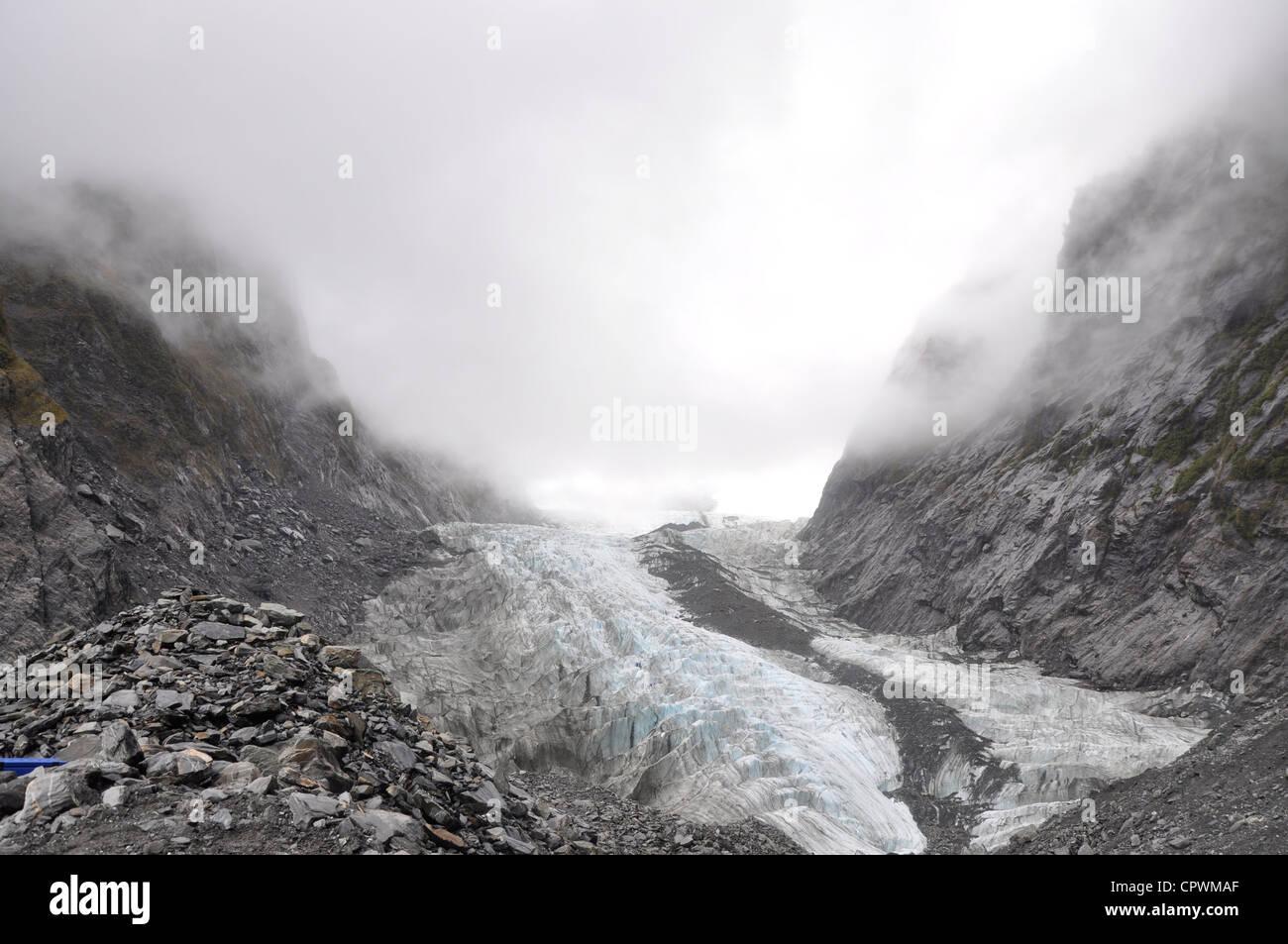Cara Terminal del glaciar Franz Josef Costa Oeste de la Isla Sur de Nueva Zelanda Foto de stock