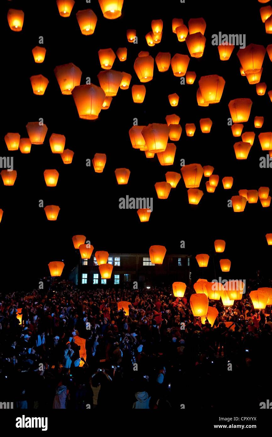 Taiwán, Distrito de Taipei, Shifen, linterna festival Imagen De Stock