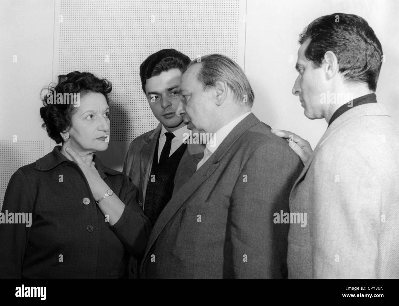 Película, 'Simon', DEU 1960, durante la realización de: Ida Ehre, Hans G. Harnisch, Carl Kuhlmann, Imagen De Stock