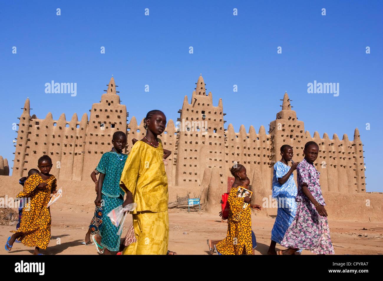 Malí, región de Mopti, Djenne, Patrimonio Mundial de la UNESCO, la mezquita Foto de stock