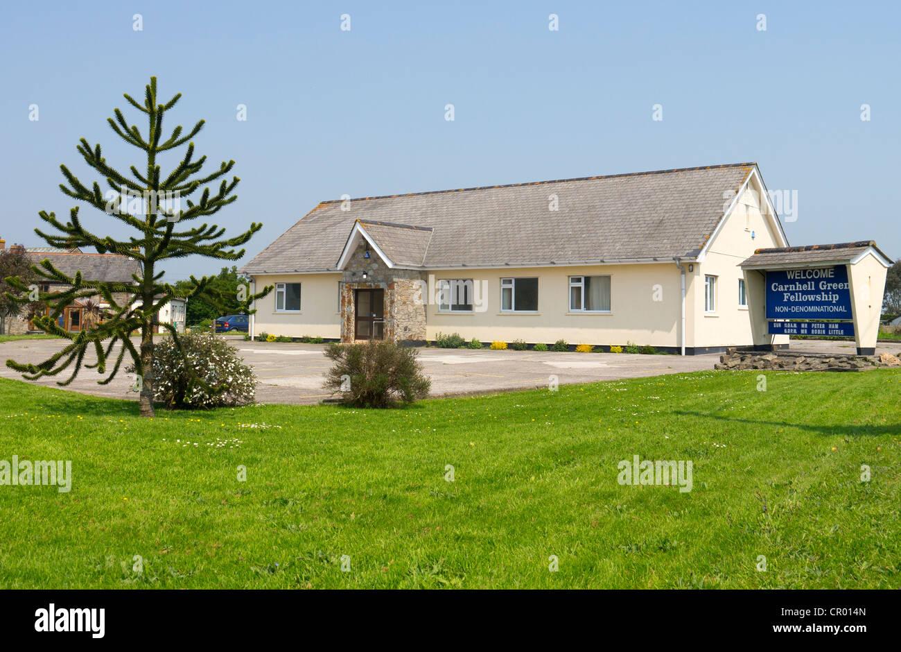 Verde Carnhell Christian Fellowship iglesia evangélica independiente del edificio. Cornwall REINO UNIDO. Imagen De Stock