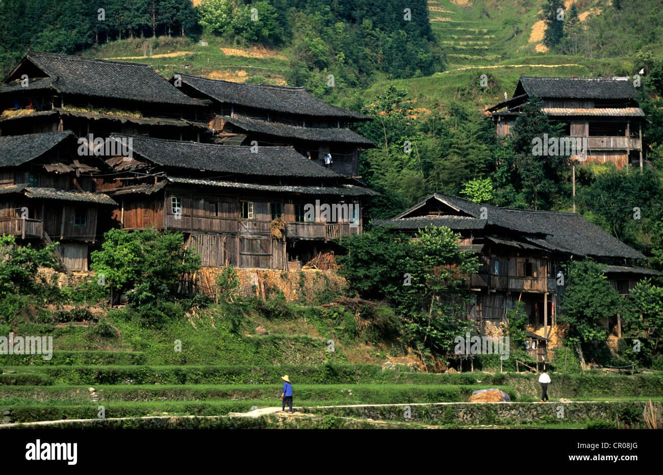 China, la provincia de Guanxi, Sanjiang, aldea de las minorías Dong Imagen De Stock