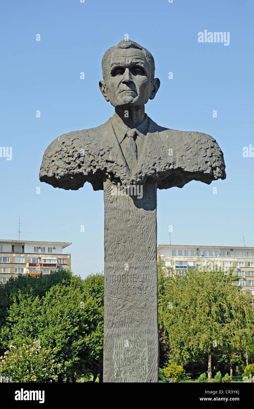 Busto de Corneliu Coposu, el político, el demócrata cristiano, memorial, Bucarest, Rumania, Europa oriental, Imagen De Stock