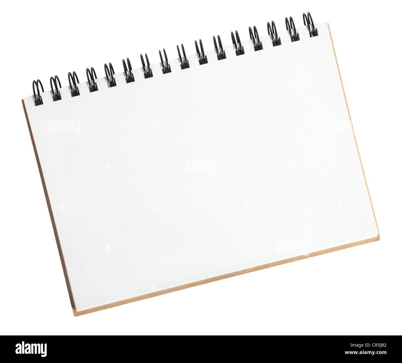 Vuelta en espiral pequeño sketch pad abierto y listo para su dibujo Imagen De Stock