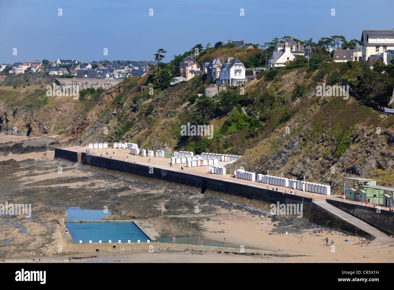 Francia, Manche, Cotentin, Granville y su piscina de agua de mar Imagen De Stock
