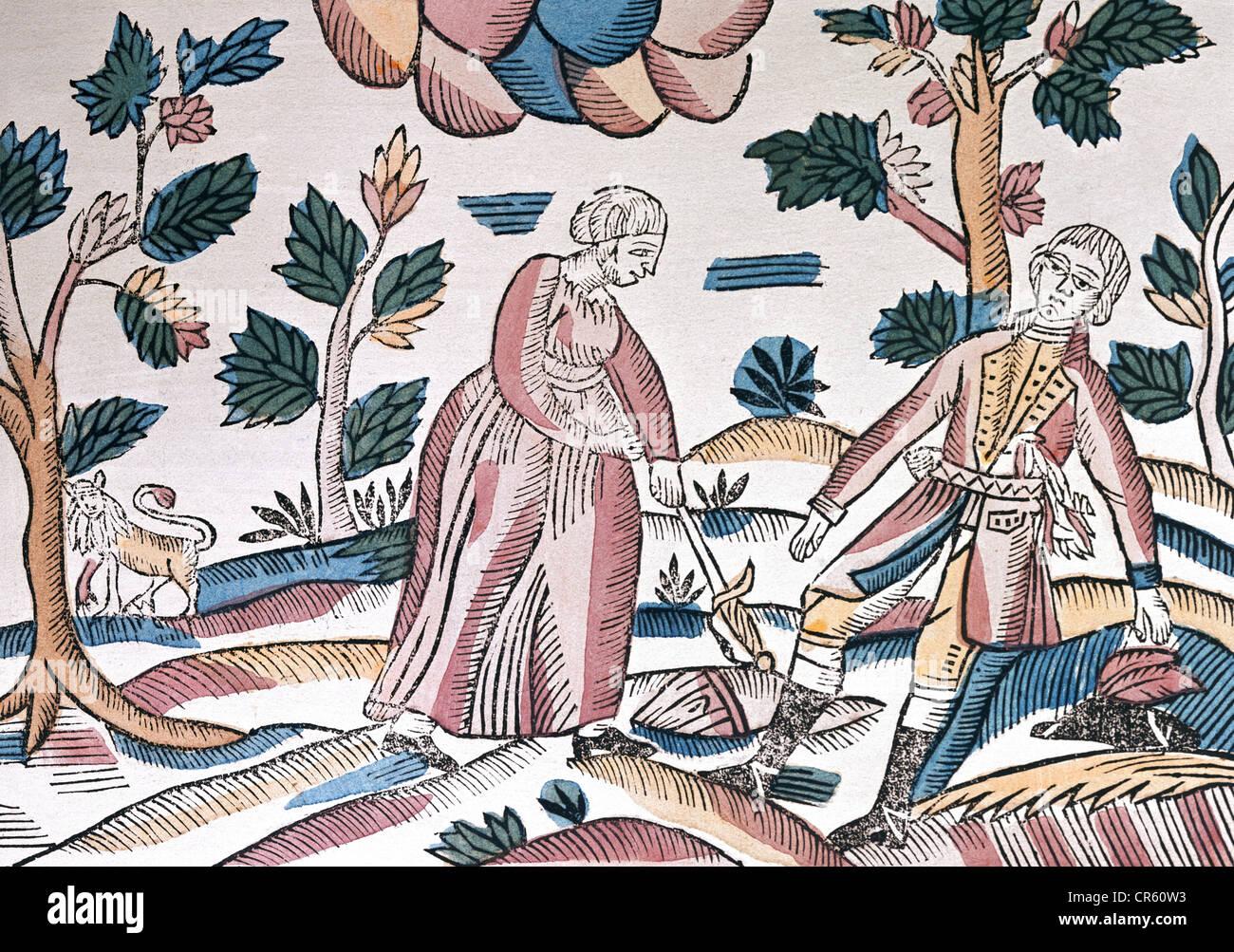 Ovid (Publius Ovidius Naso), 43 AC - 17 AD, autor/escritor romano, obras, 'Metamorfosis', 'Pyramus y , Foto de stock