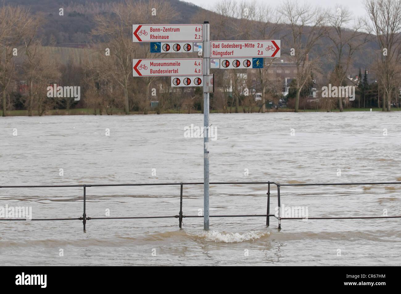Alta en el agua del río Rin, cerca de Bonn, inundó bicicleta de ruta y paseo marítimo, signo puesto Imagen De Stock
