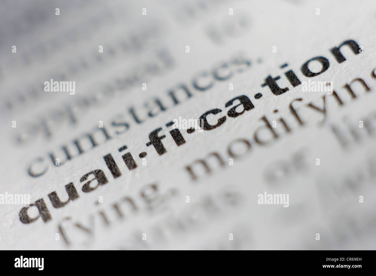 Página de diccionario con la definición de calificación, cerrar Imagen De Stock