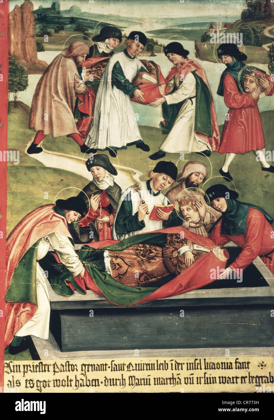 Quirinus de Neuss, circa 130 DC, San, mártir cristiano, su muerte, entierro del Quirinus decapitado, detalle de una placa de leyenda, aceite en madera, 82 x 57 cm, Baviera, circa 1510, Foto de stock