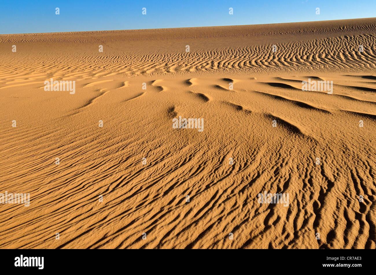 Argelia, el Sahara, Vista de dunas de arena Imagen De Stock