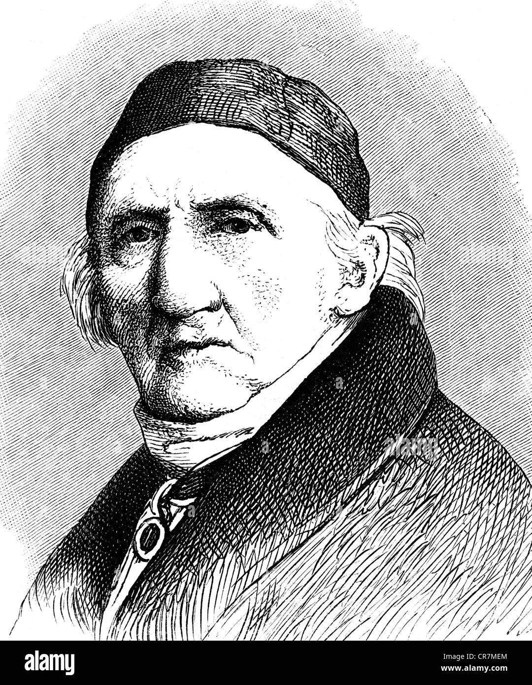 Schadow, Johann Gottfried, 20.5.1764 - 27.1.1850, escultor alemán y artista gráfico, retrato, grabado en madera, siglo 19, Foto de stock