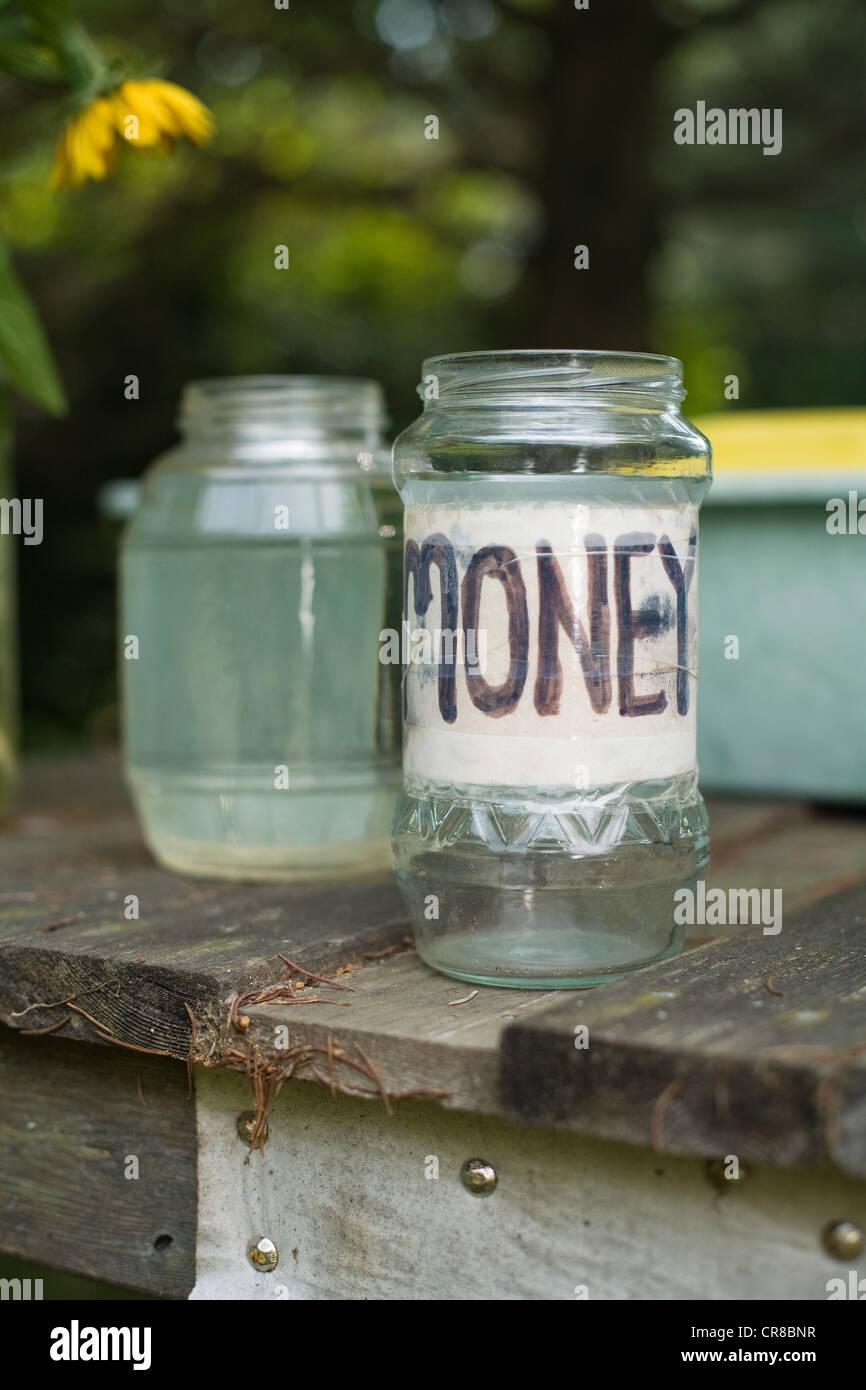 Dinero jar en pick-su-propia granja Imagen De Stock