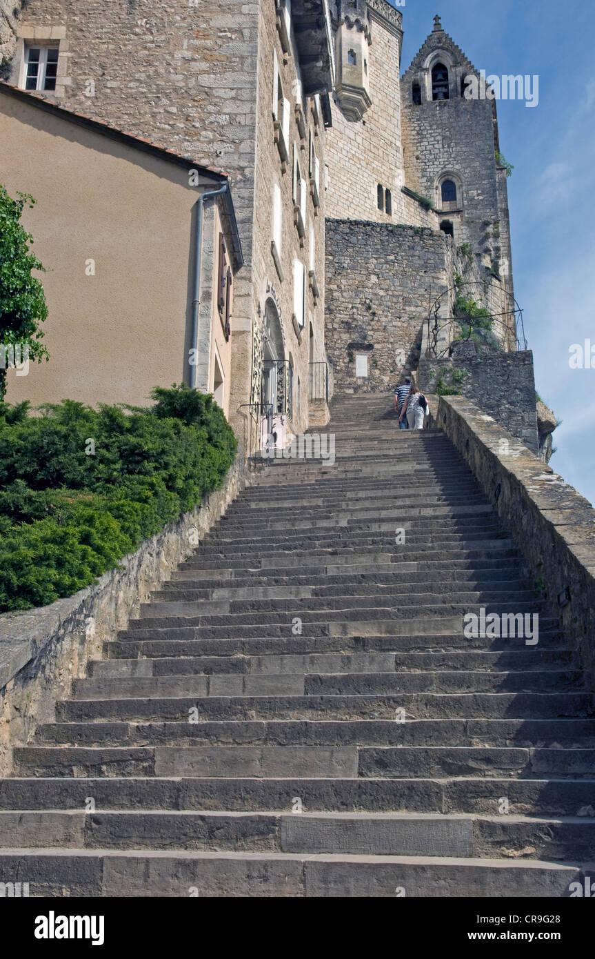 Grand Escalier en Rocamadour en el lote (46) departamento de Francia. Foto de stock