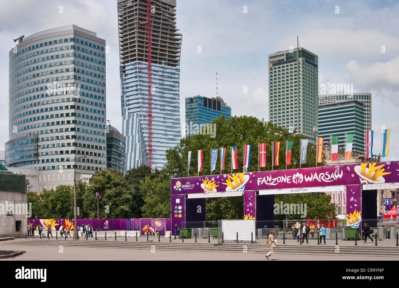 EURO 2012 de entrada a la zona del ventilador en el centro de Varsovia, Polonia Imagen De Stock