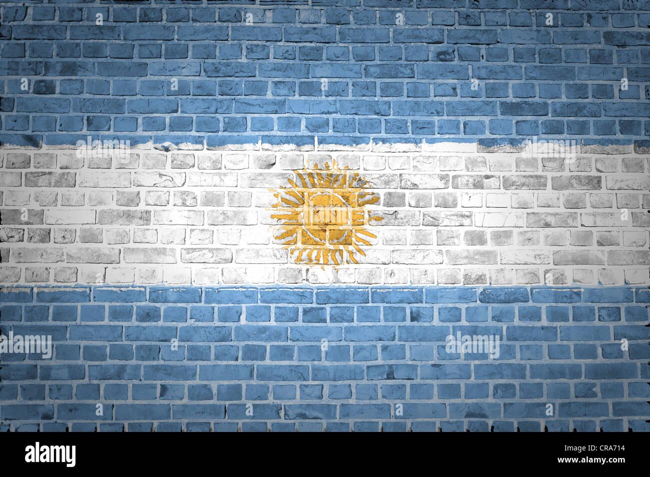 Una imagen de la bandera Argentina pintada sobre una pared de ladrillos en una ubicación urbana Foto de stock