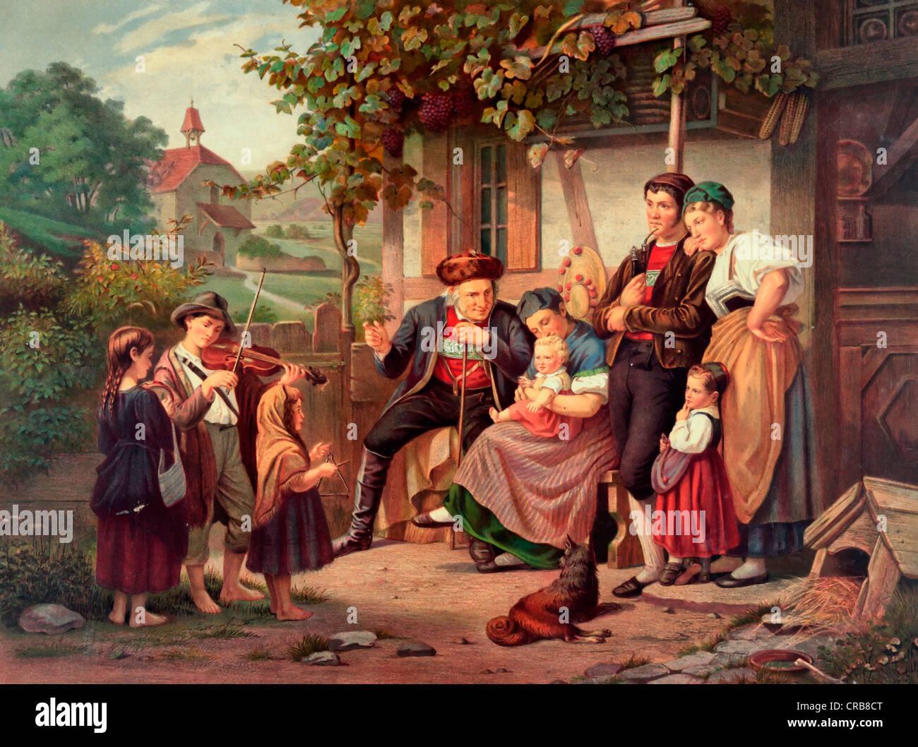 Un Hogar Feliz una soledad - impresión vintage de la vida familiar en una granja, circa 1870. Imagen De Stock