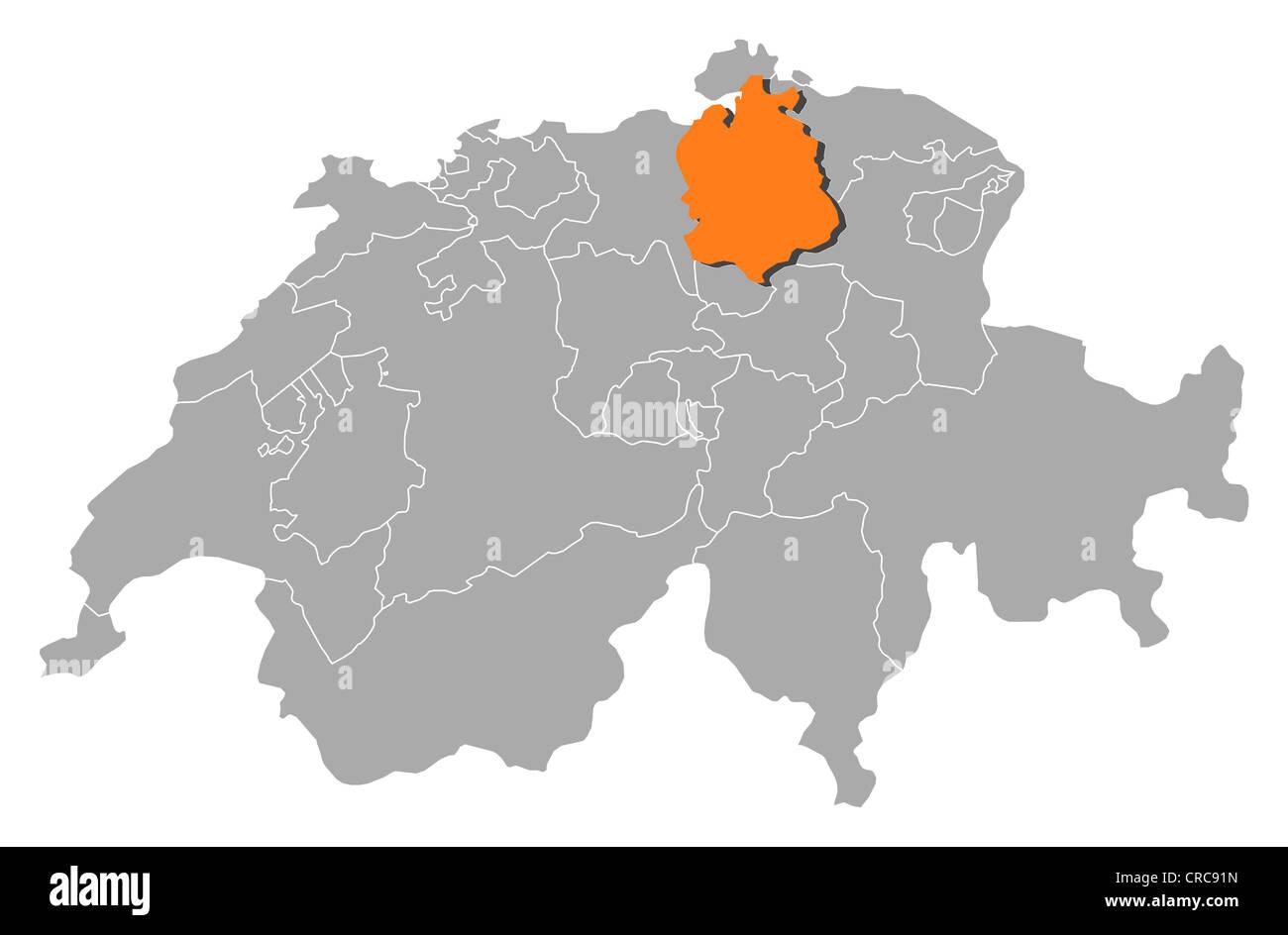 Mapa Politico De Suiza.Mapa Politico De Suiza Con Los Varios Cantones Donde Zurich