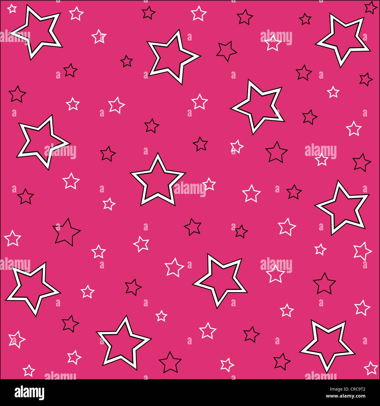Patrón de estrellas integradas en blanco, negro y rosa Imagen De Stock