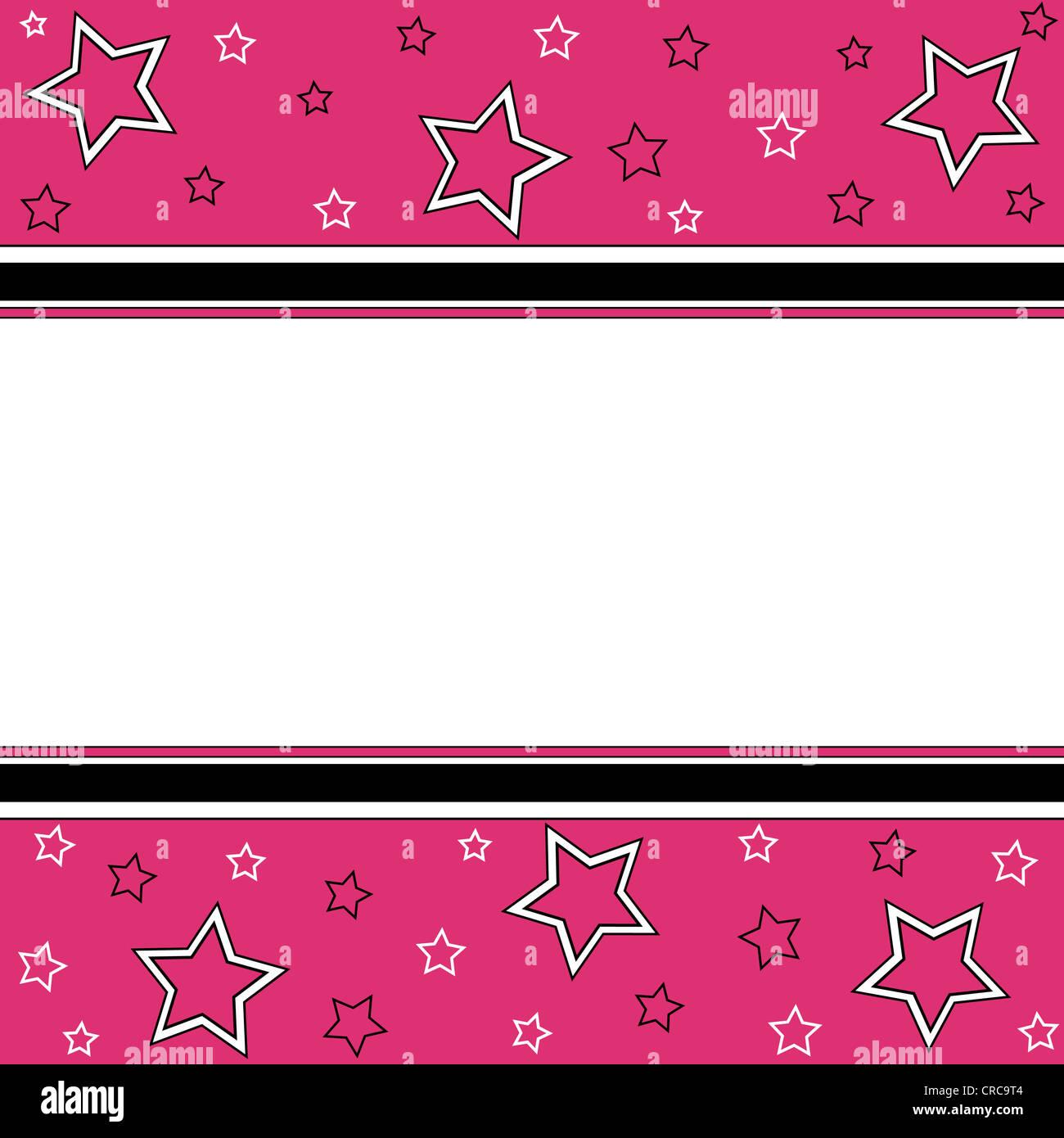Patrón de estrellas y rayas en blanco, negro y rosa Imagen De Stock