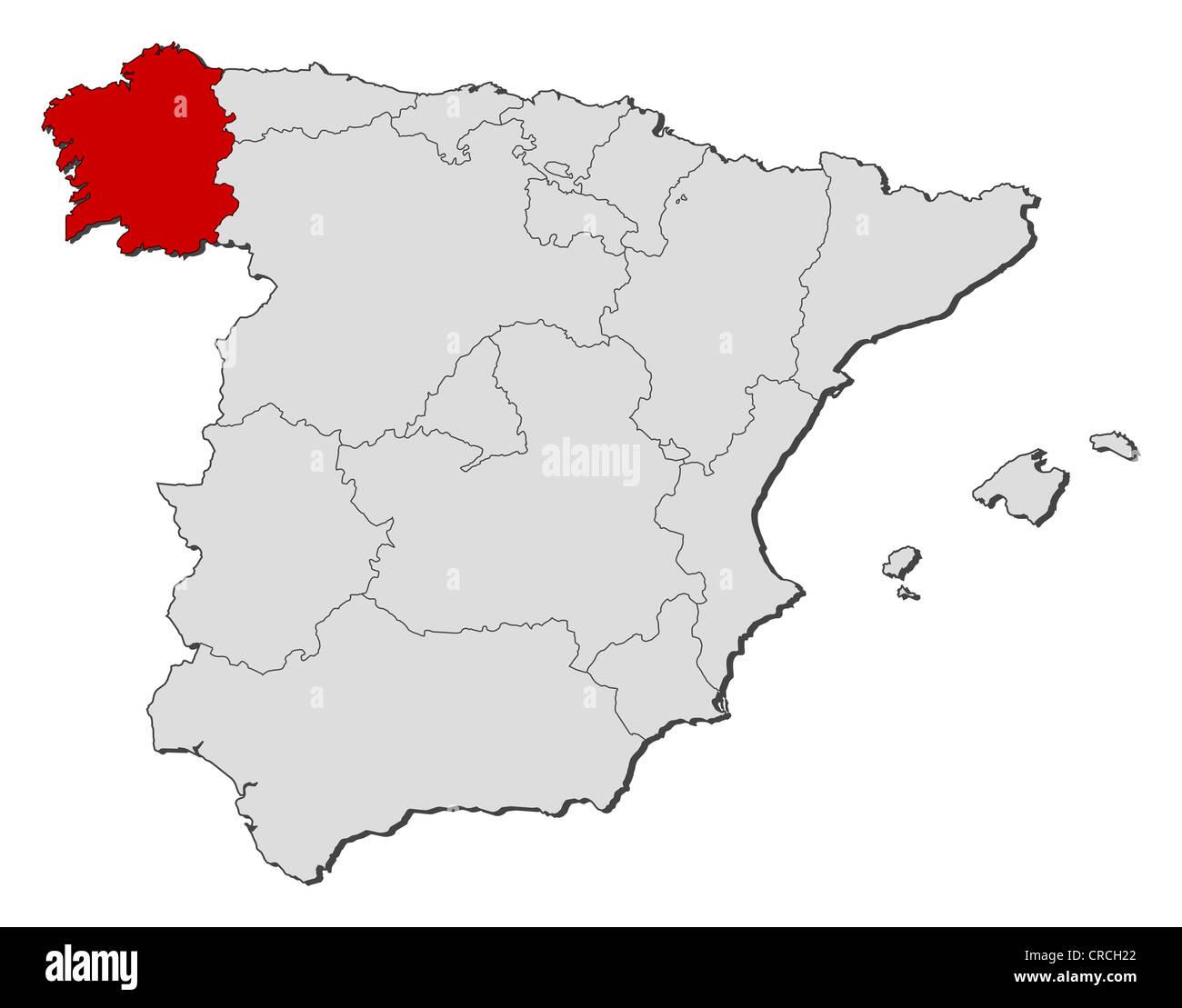 Mapa Politico De Espana Con Las Diversas Regiones Donde Galicia