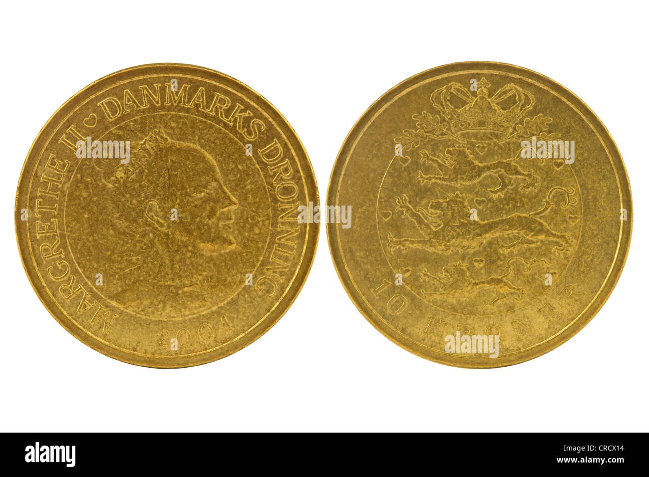 Anverso y reverso de 10 coronas danesas. Aislado sobre fondo blanco. Foto de stock