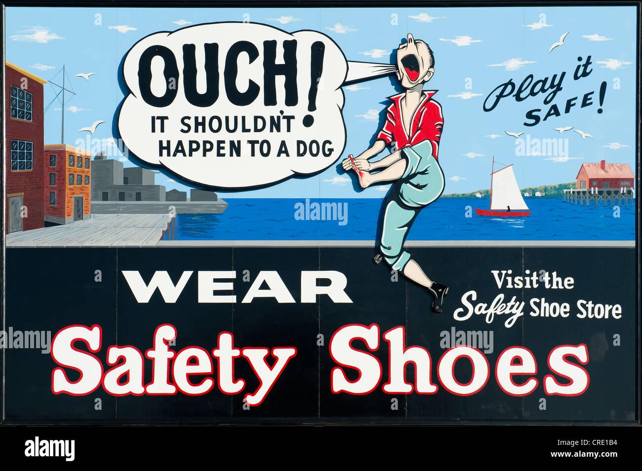 Ouch, comic el letrero de advertencia para llevar zapatos de seguridad, Parque Nacional Histórico de Boston, Imagen De Stock