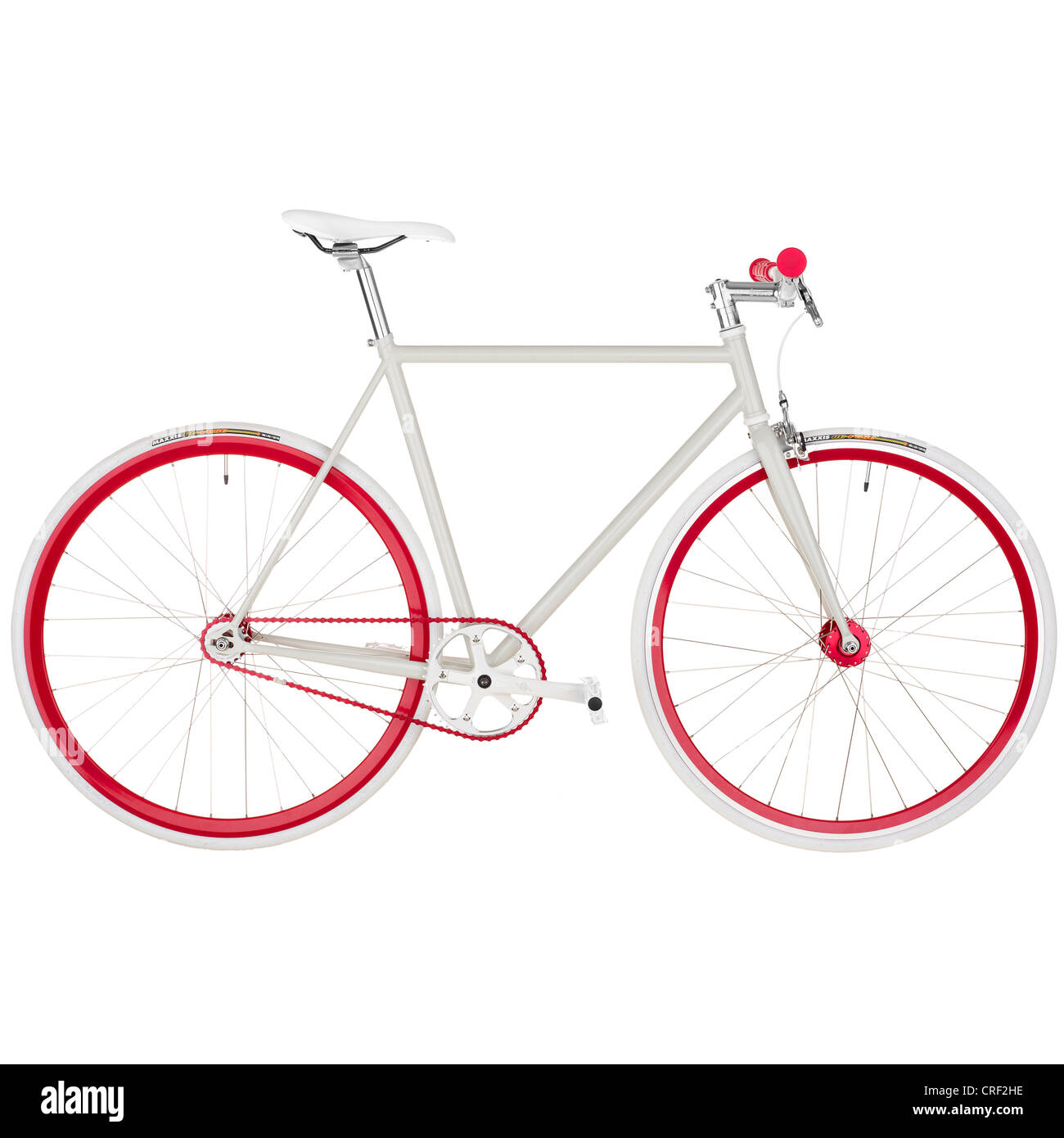 Bicicleta de color rojo y blanco. Marcha fija. Imagen De Stock