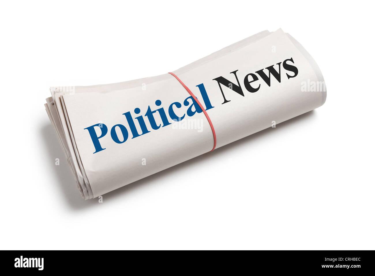 Noticias, periódico político rollo con fondo blanco. Imagen De Stock