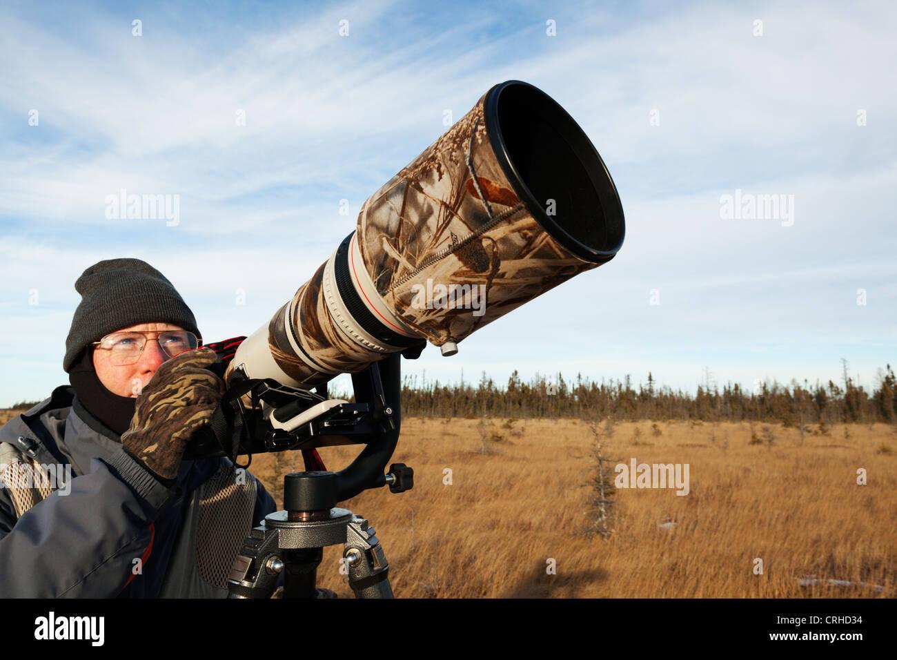 Un fotógrafo de la naturaleza silvestre mirando para las aves. Foto de stock