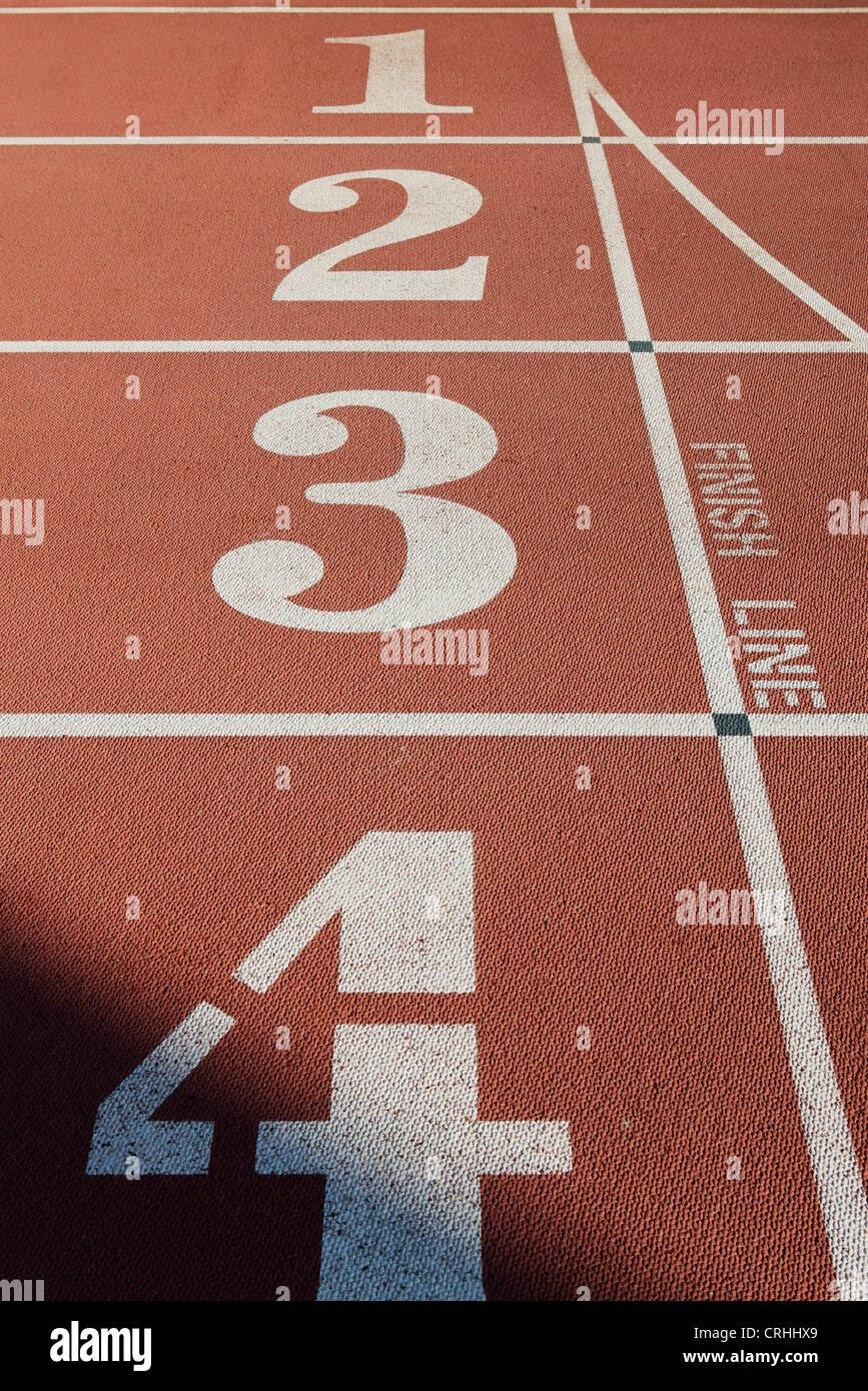 Pista de Atletismo carriles Imagen De Stock