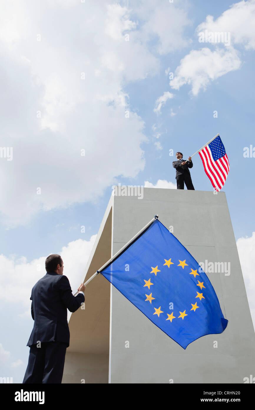 Los Estados Unidos compite económicamente con la Unión Europea Imagen De Stock