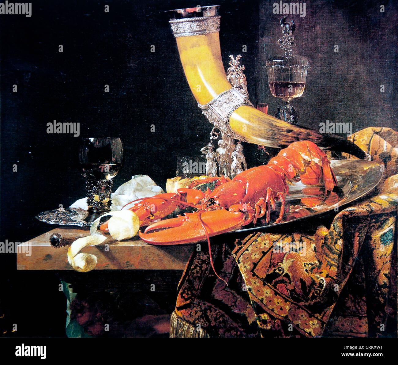 Willem Kalf - Bodegón con Drinking-Horn Imagen De Stock