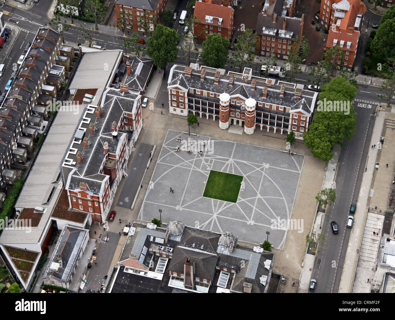 Vista aérea del Chelsea College of Art, la Universidad de las Artes en Londres Chelsea para ser exactos Foto de stock