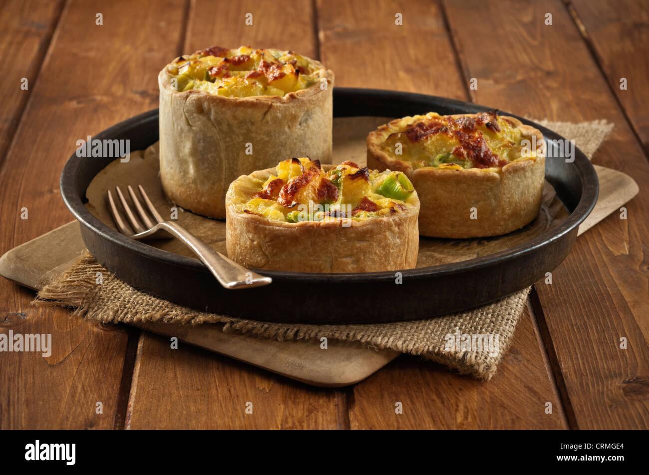 Tarta Homity puerro y patata tarta de queso comida tradicional UK Imagen De Stock