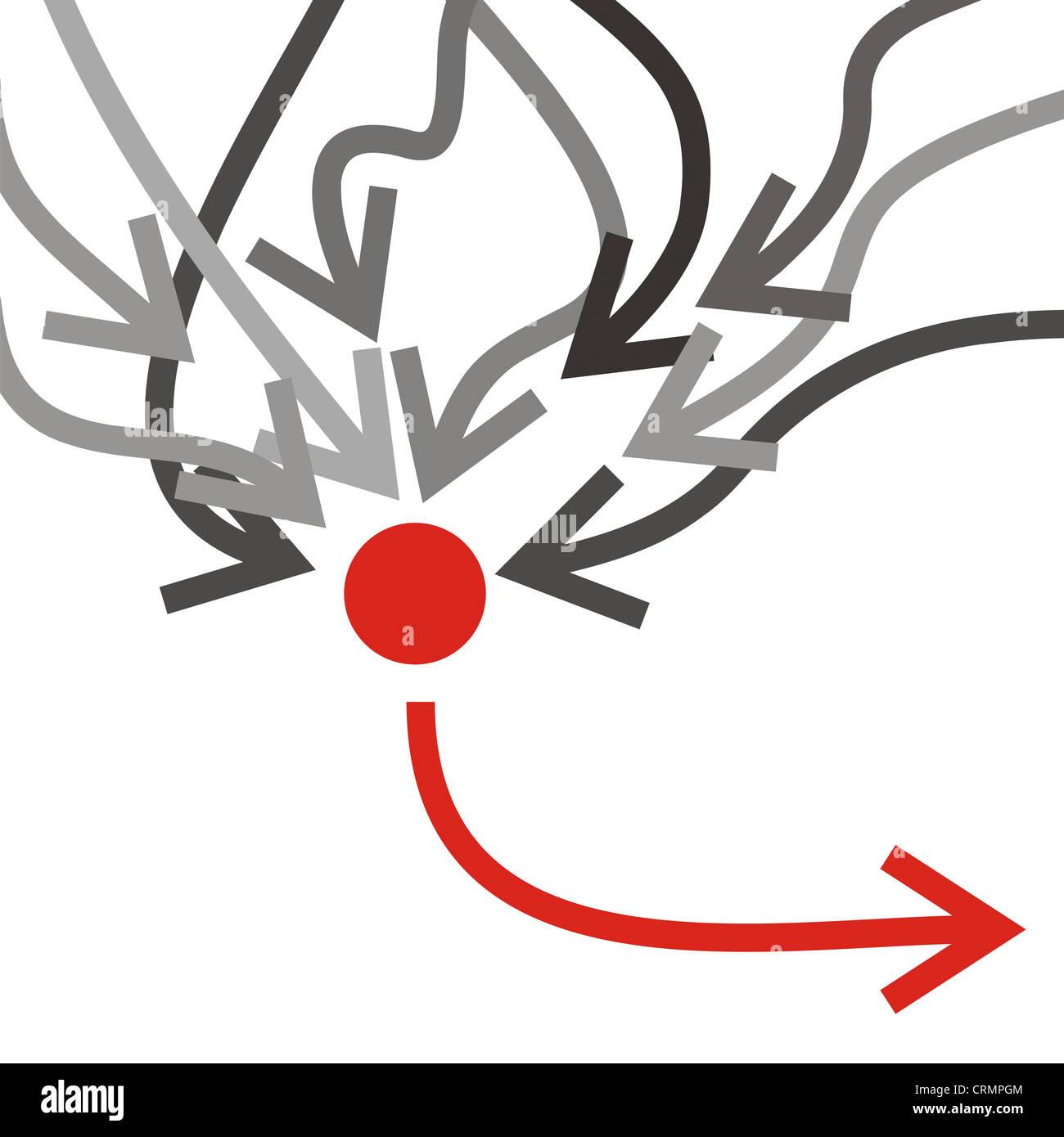 Grupo de flechas grises infiltrado a una flecha roja Imagen De Stock