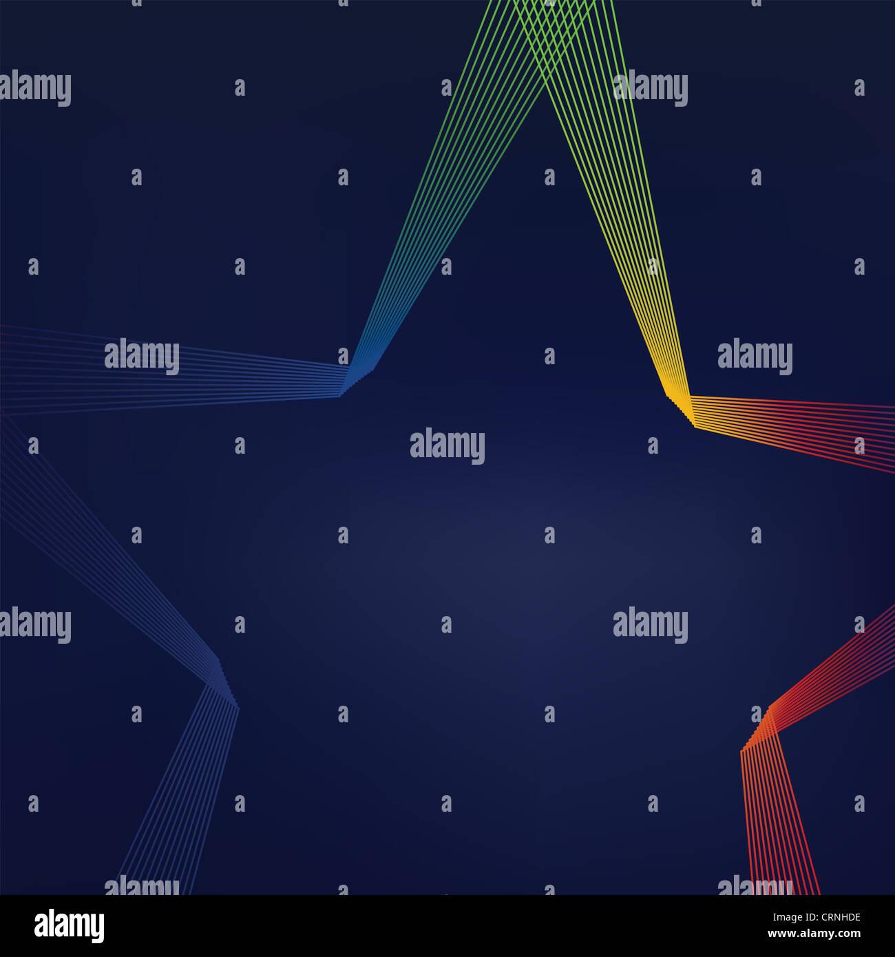 Colorido fondo abstracto de líneas en forma de estrella Imagen De Stock