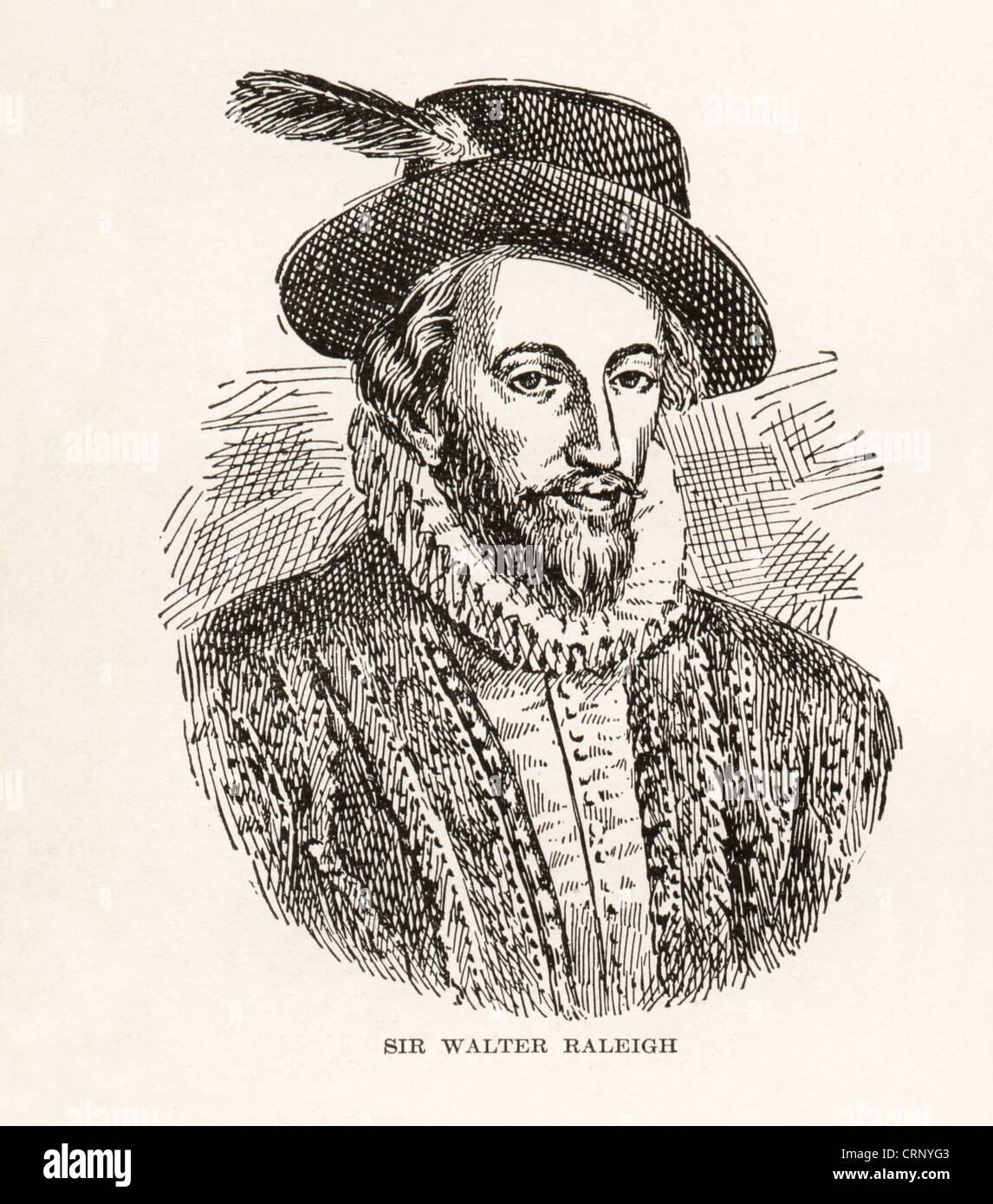 Vintage grabado de Sir Walter Raleigh, navegante inglés, soldado, escritor, 1552-1618, Foto de stock