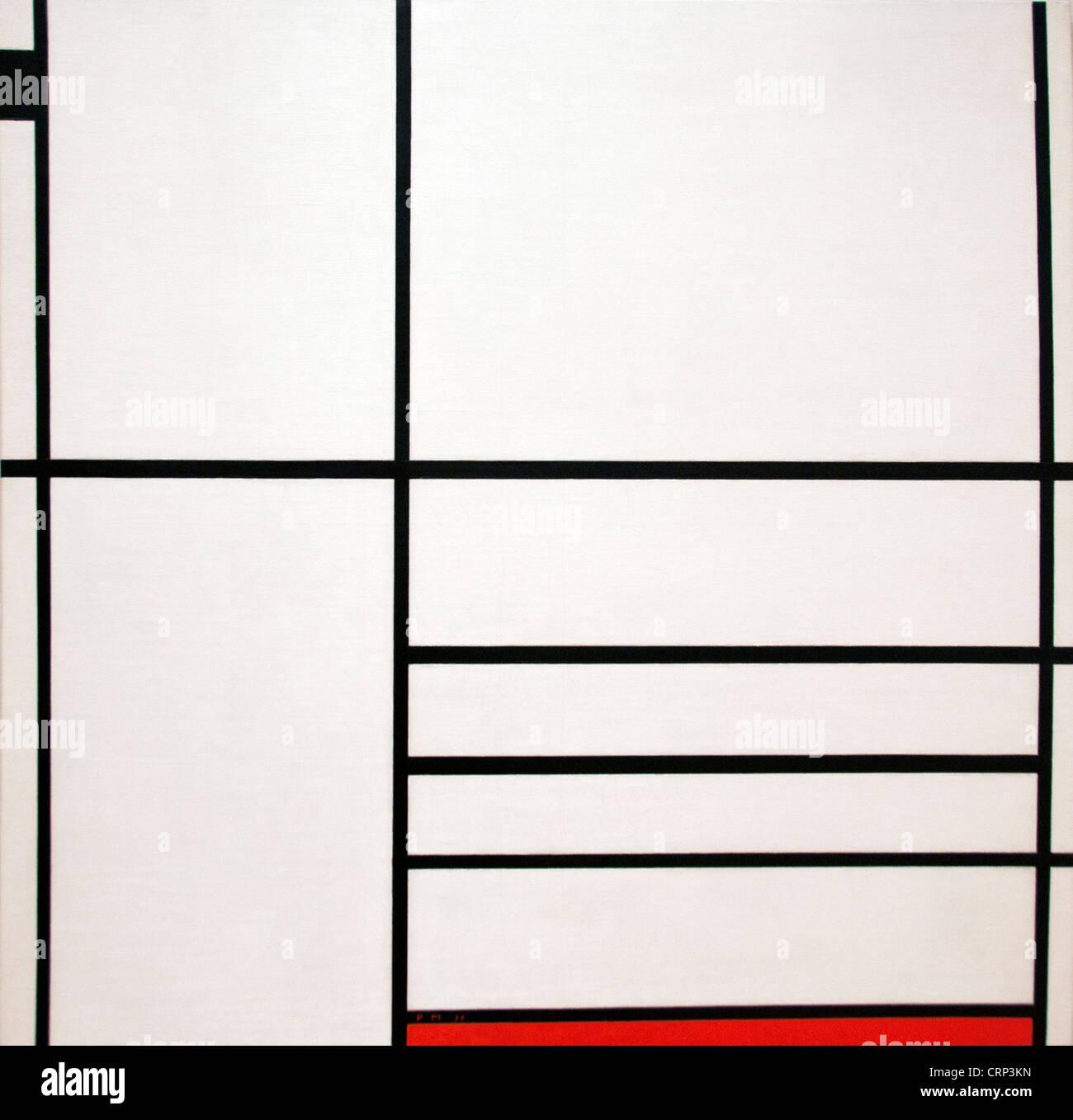 Composición en blanco negro y rojo 1936 Piet Mondrian - Mondriaan Holanda Holandesa Imagen De Stock